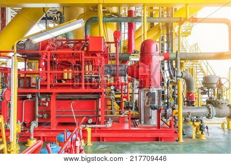 Firefighting system on offshore oil and gas platform and petrochemical industry multi stage of diesel engine fire water pump and deluge system to protect platform on fire case.