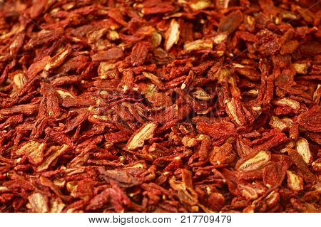 Background with stack of dried italian tomatoes