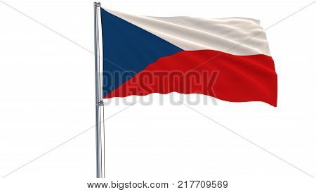 Isolate flag of Czech Republic on a flagpole fluttering in the wind on a white background, 3d rendering