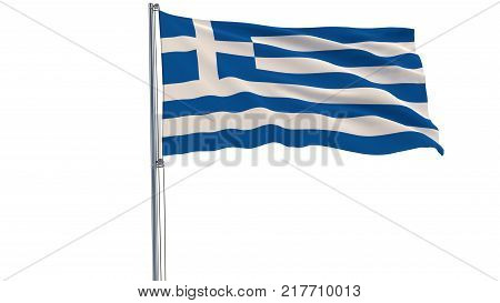 Isolate flag of Greece on a flagpole fluttering in the wind on a white background, 3d rendering