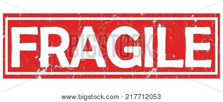 Fragile - grunge red and white stamp / label / sticker for print