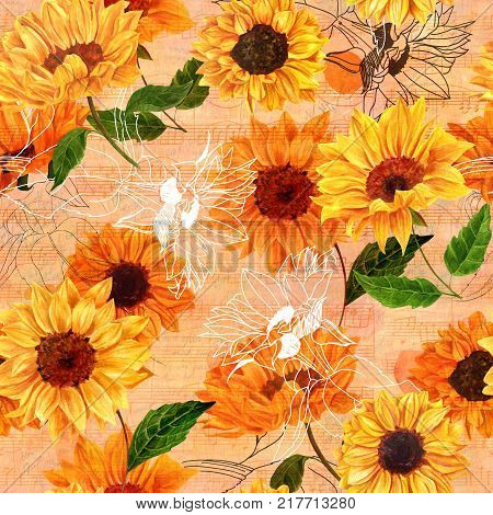Seamless pattern with vibrant yellow watercolor sunflowers on the background of old ephemera, handwritten notes and sheet music, vintage style floral repeat print