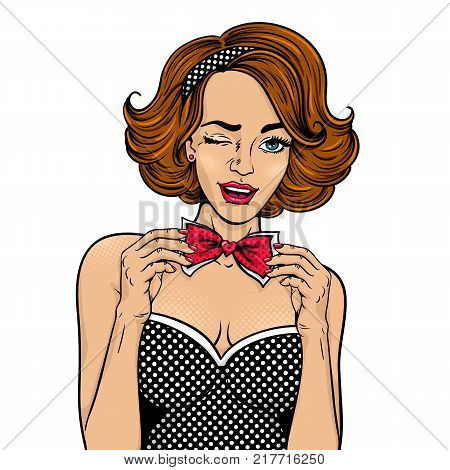 Wow pop art face. Young sexy woman with open smile winks and corrects her bow tie. Vector illustration in retro comic style isolated on white background. Party invitation girl.