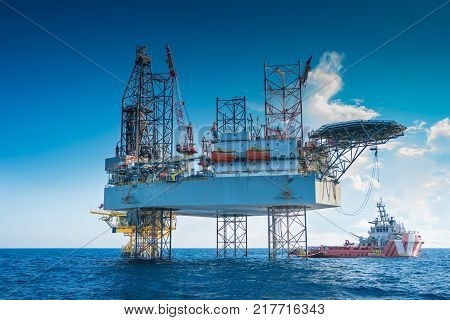 Oil and gas production and exploration oil and gas jackup drilling rig work over remote wellhead platform to completion oil and gas produce well by using drilling bit which made from carbide or diamond at head bit and drive by mud pressure.