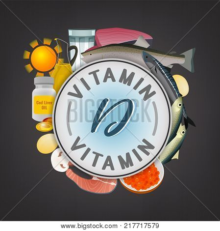 Vitamin D banner. Beautiful vector illustration with caption lettering and top foods highest in vitamin D isolated on a dark grey background. Useful for leaflet, brochure or poster design