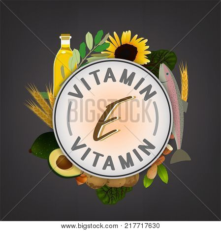 Vitamin E banner. Beautiful vector illustration with caption lettering and top foods highest in vitamin E isolated on a dark grey background. Useful for leaflet, brochure or poster design