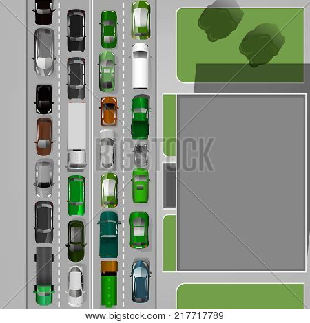 Heavt traffic background with different car images. Busy road in a city. Aerial view. Editable vector illustration in modern flat style. Automotive collection.