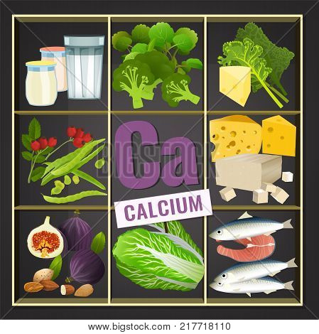 Foods containing Calcium on a dark grey background. Source of Ca - vegetables, salads, greens, fruits, dairy products. Medical, healthcare and dietary creative concept. Vector illustration.