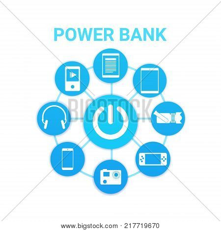 Portable Cahrger Power Bank Technology With Modern Gadgets Icons Charging Vector Illustration