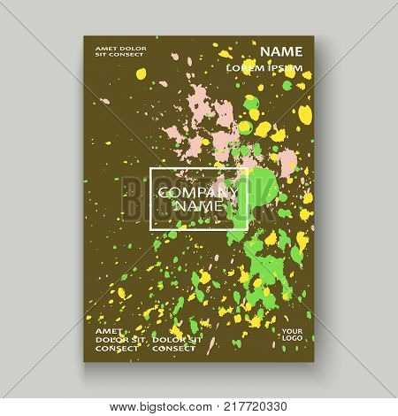 Neon Explosion Paint Splatter Artistic Cover Frame Design. Decorative Colorful Splash Spray Texture