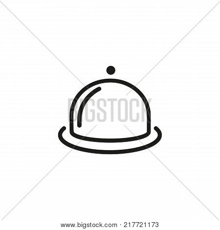 Line icon of dish with cloche. Restaurant, dinner, menu. Food concept. Can be used for topics like meal, kitchenware, service