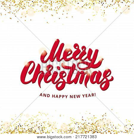 Merry Christmas Happy New Year 2018. I wish you Merry Christmas and Happy New Year. Gold sparkles, glitter confetti. Red logotype white background. Golden sparkle backdrop for invitation, decoration