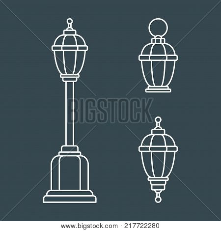 Set of outline old fashioned flashlight. Kerosene lamp or candle for lighting streets, houses. Decor for festival, birthday, wedding. Flat vector illustration. Objects isolated on black background.