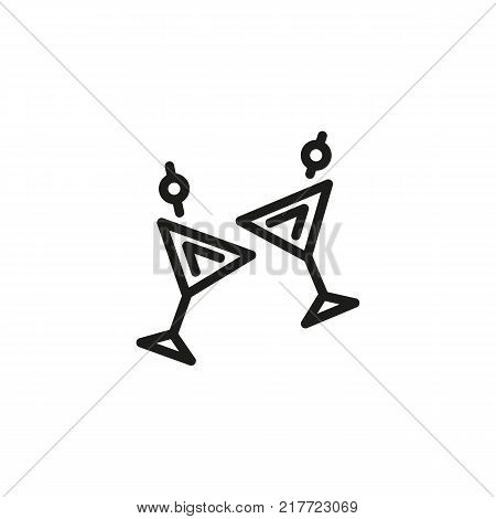 Line icon of clinking martini glasses. Toast, party, nightclub. Drinks concept. Can be used for topics like celebration, nightlife, alcoholic drinks