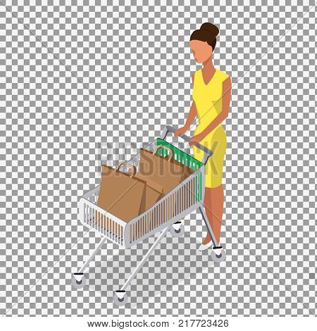 Vector woman carry shopping cart on transparent background. A woman with empty shopping cart. -stock vector