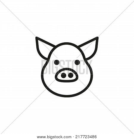 Line icon of pig head. Pork, meat store, bacon. Food concept. Can be used for topics like livestock, cooking, supermarket