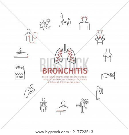 Bronchitis. Symptoms, Treatment. Line icons set. Vector signs for web graphics