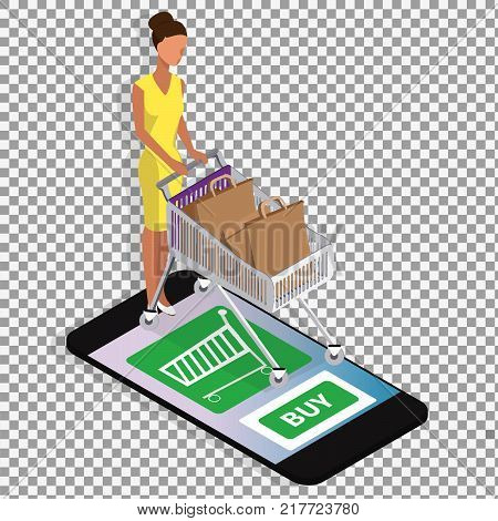 Shopping online isometric vector concept on transparent background. Business illustration. Business infographic elements. -stock vector