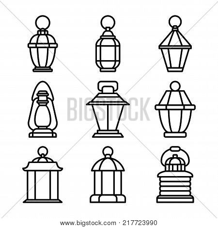 Set of outline old fashioned flashlight. Kerosene lamp or candle for lighting streets, houses. Decor for festival, birthday, wedding. Flat vector illustration. Objects isolated on white background.