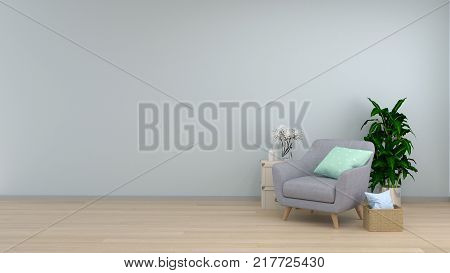 Interior room,armchair in living room interior background,sofa in empty wall and ornamental interior background,3D rendering and sofa copy space minimal