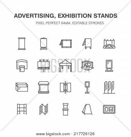 Advertising exhibition banner stands, display line icons. Brochure holders, pop up boards, bow flag, billboard folding marquees promotion design elements. Trade objects signs. Pixel perfect 64x64.