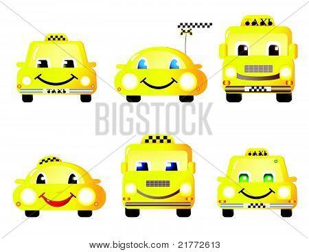 set of cute taxi cars