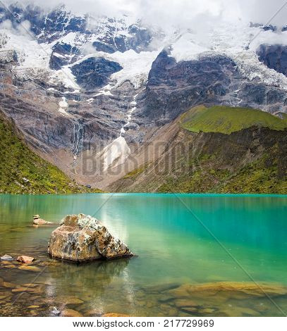 Humantay Lake In Peru On Salcantay Mountain In The Andes