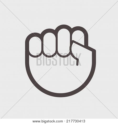Gesture hand clenched into a fist. A symbol of struggle or resistance. vector illustration