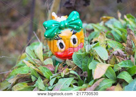 Tiny yellow rubber duckon the green bush