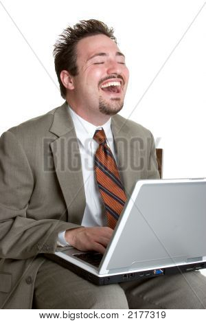 Laughing Laptop Businessman