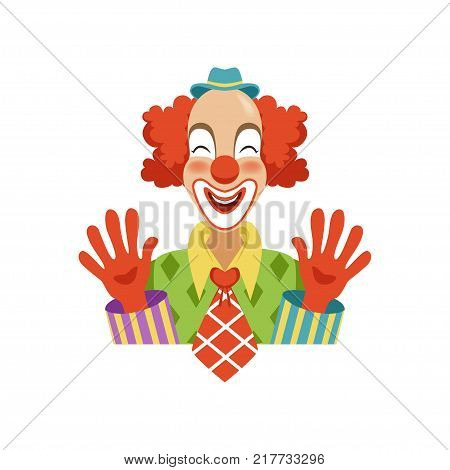 Funny circus clown in traditional makeup showing his hands, cartoon friendly clown in classic outfit vector Illustration on a white background