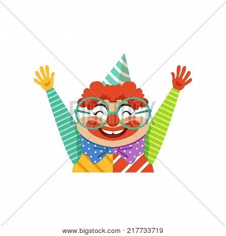 Funny circus clown in traditional makeup and glasses, cartoon friendly clown in classic outfit vector Illustration on a white background