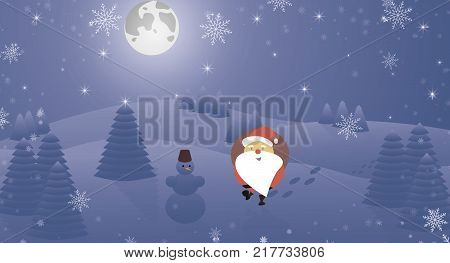 Santa Claus with snowman Snow, Christmas trees in the mountains. Horizon in the mountains at night
