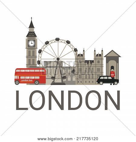 London architecture illustration. London travel concept with traditional symbols of architecture. Tourism background.