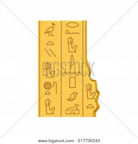 Egypt hieroglyphs, ancient papyrus vector Illustration on a white background