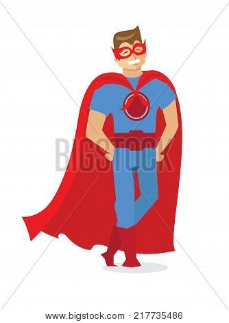 Vector card with Superhero. Super man with super power