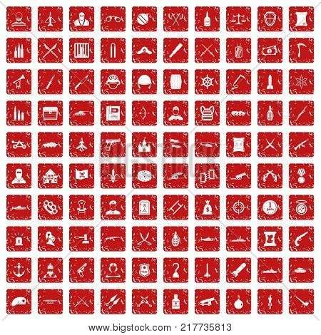 100 weapons icons set in grunge style red color isolated on white background vector illustration