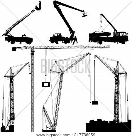 Set of black hoisting cranes isolated on white background. Vector illustration.