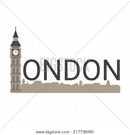 Banner of London city. London travel concept. City skyline silhouette vector design.
