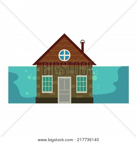 Cottage house under water, flood insurance concept icon, cartoon vector illustration isolated on white background. Cottage house flooded by water to the rood, home insurance from flooding