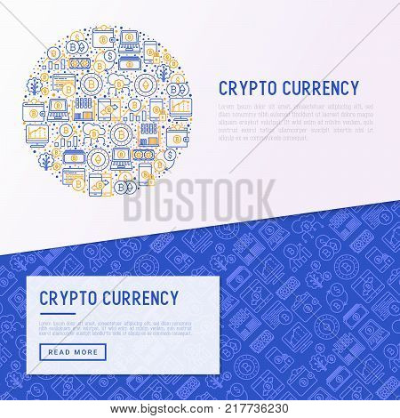 Cryptocurrency concept in circle with thin line icons set: mining farm, bitcoin, exchange, wallet, online banking, coin, payment. Modern vector illustration for banner, web page.