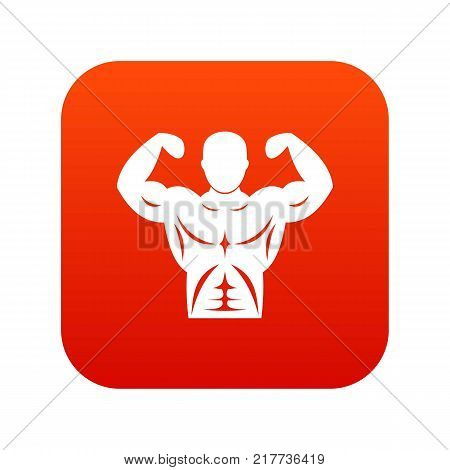 Athletic man torso icon digital red for any design isolated on white vector illustration