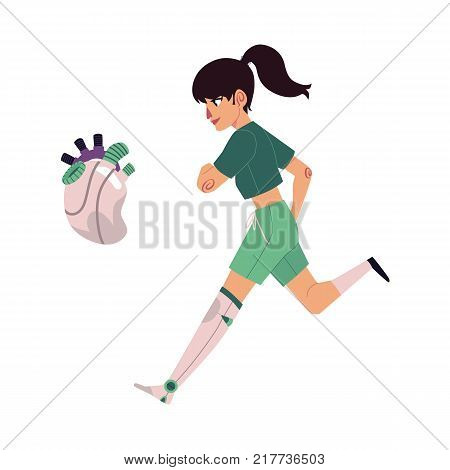 vector flat bionic futuristic mechanical prosthesis concept icon set. Young girl character with iron robotic hand running, mechanic heart. Isolated illustration, white background