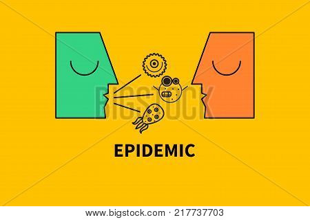 Wheezy man sneezing and coughing, spreading germs and viruses. Fflu epidemic. Vector illustration