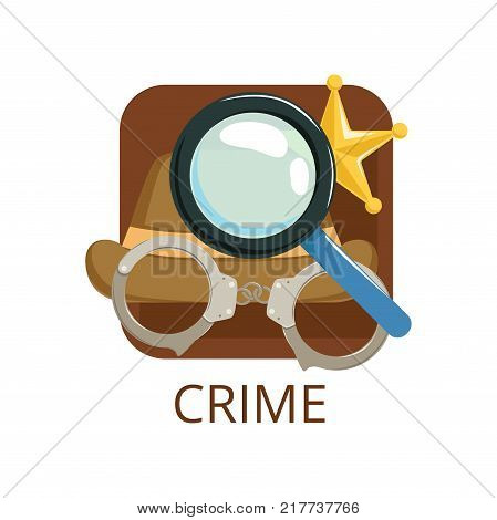 Crime cinema genre, symbol for cinema, theatre, channel, cinematography, movie production vector Illustration on a white background