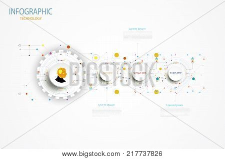 Infographic technology template timeline hi-tech digital and engineering telecoms can be used for your businessbook cover layout template bannerdiagram Infographic presentation Vector illustration