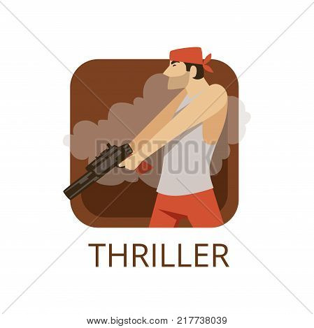 Thriller cinema genre, symbol for cinema or channel, cinematography, movie production vector Illustration on a white background