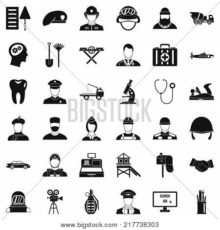 Job search icons set. Simple style of 36 job search vector icons for web isolated on white background