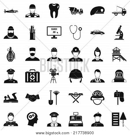 Employment icons set. Simple style of 36 employment vector icons for web isolated on white background