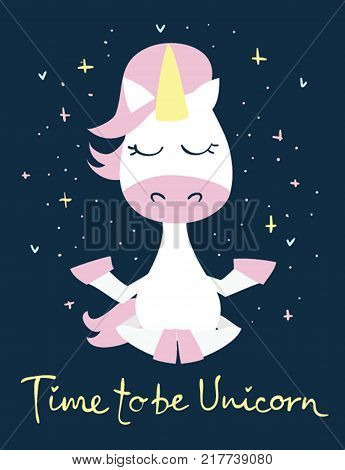 Magic unicorn cards. Vintage vector typography posters with hand drawn text Time to be unicorn